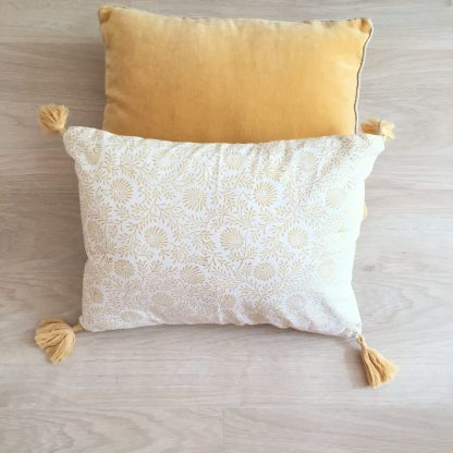 Housse de coussin imprimée à la main au block print DAUPHINE Sable d'Or de VILLA D'ISSI