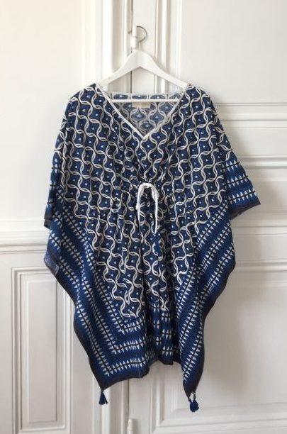 Tunique Caftan Beachwear LIVIA Bleu Royal de VILLA D'ISSI