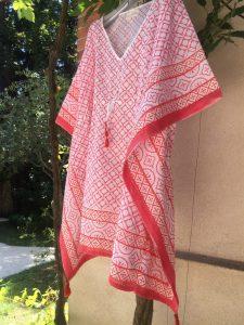 Tunique caftan d'été Resortwear EMMA Corail Tangerine de VILLA D'ISSI