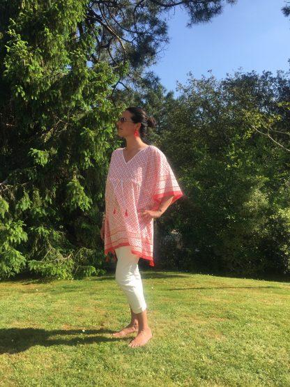 Tunique caftan d'été Resort wear EMMA Corail Tangerine de VILLA D'ISSI