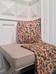 Collection de décoration textile indienne imprimée à la main au block print INDIANA de VILLA D'ISSI
