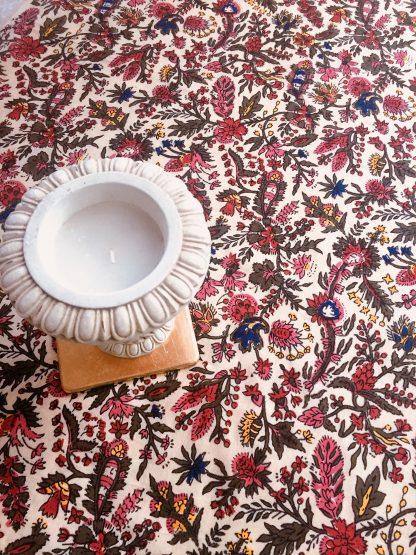 Nappe indienne légère imprimée à la main au block print INDIANA de VILLA D'ISSI tablecloth Multipurpose Scarf INDIANA from VILLA D'ISSI