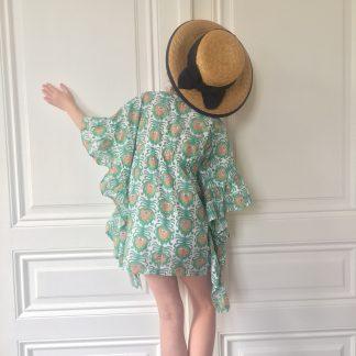 Paréo Foulard fille à volants VILLA D'ISSI Vert Fougère