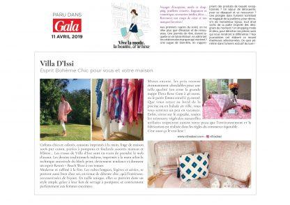 VILLA D'ISSI recommandé par le magazine GALA dans son dossier Luxe-Tendances 2019 du 11 avril 2019
