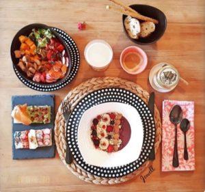 Serviette de table imprimée à la main Bohème Chic FLORA Rose Gum de VILLA D'ISSI - Linge de maison- Linge de table-Nappes-Sets de table
