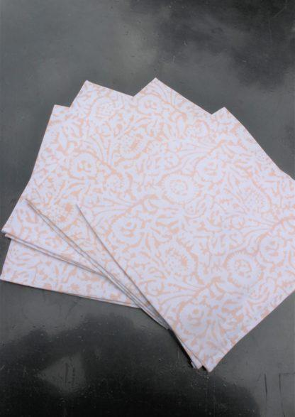 Serviettes de tables imprimées en Inde à la main au block print FELICITE de VILLA D'ISSI