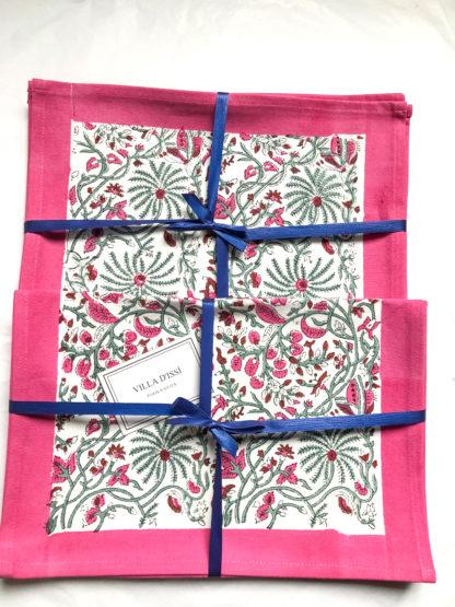 Set de table block print CYRIELLE en coton indien rose et vert de VILLA D'ISSI