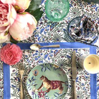 Set de table block print CYRIELLE en coton indien bleu et vert de VILLA D'ISSI