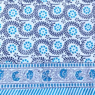 Nappe indienne bleue block print ADELE de VILLA D'ISSI