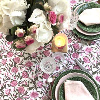 Nappe rose et vert ROSA de VILLA D'ISSI. Pink and Green Tablecloth
