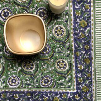 Nappe indienne verte block print imprimée main au tampon de Villa d'Issi